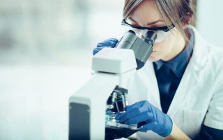 Scientist looking at embryo in laboratory