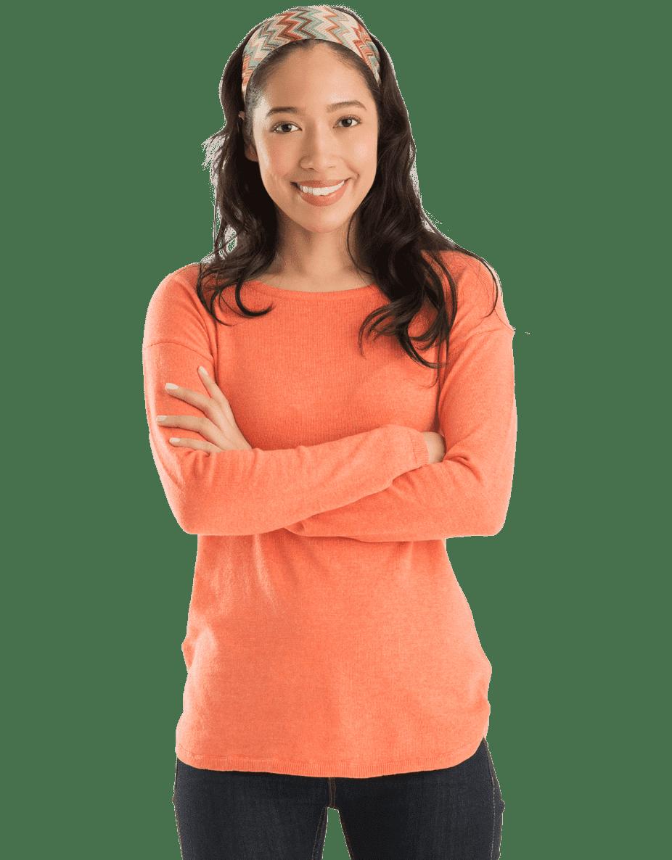 Asian woman smiling wearing peach shirt
